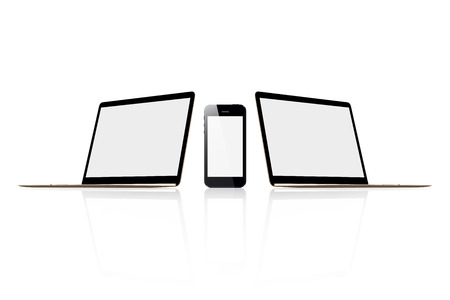 lcd: Two laptop and mobile phone boards  for advertising