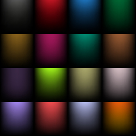 Set of colored backgrounds with a  radial gradient 矢量图像