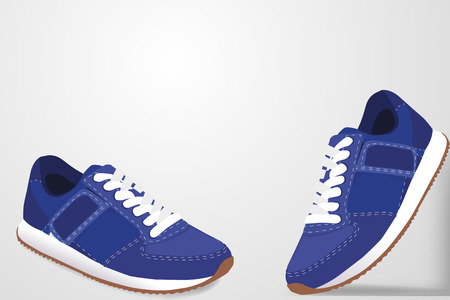 Sneakers with shadow on a white background
