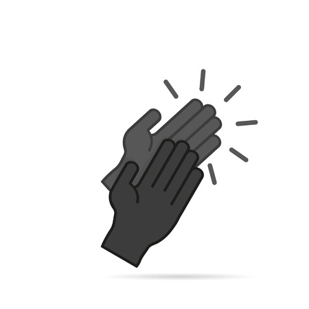 black hands: Icon clapping hands in a flat  style Illustration