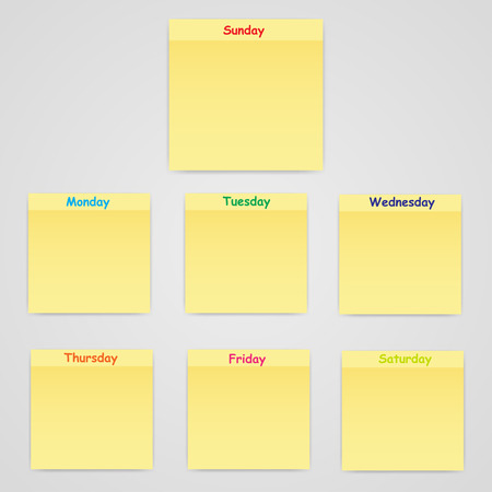 reminders: Slips of paper with different days  of reminders Illustration
