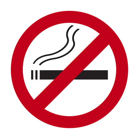 pernicious habit: No smoking sign on a white  background