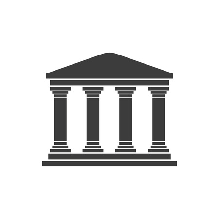Greek temple on a white background  flat design