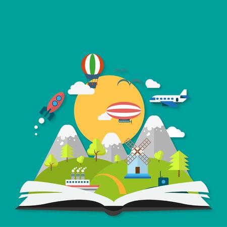 libros volando: concepto de la imaginación con el libro y una sombra