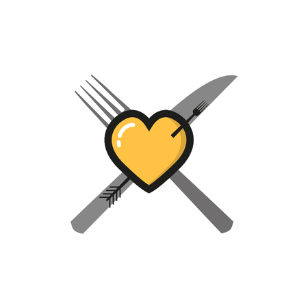 diet plan: Heart  with a fork on a  white  background