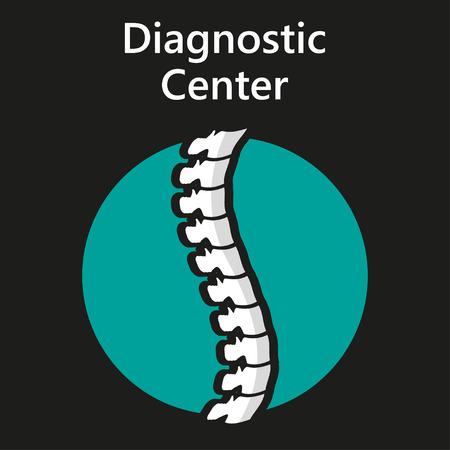 vertebra: Diagnostic center  on a black  background