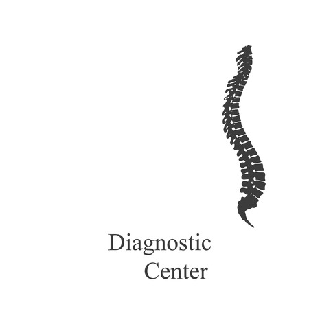 scoliosis: Silhouette spine diagnostic on a  white background