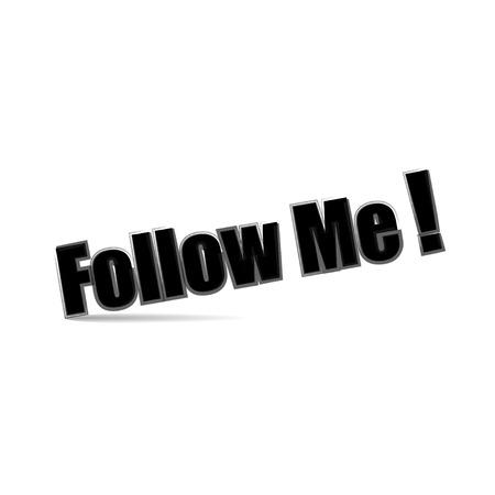 follow me: Illustration follow me text on white  background