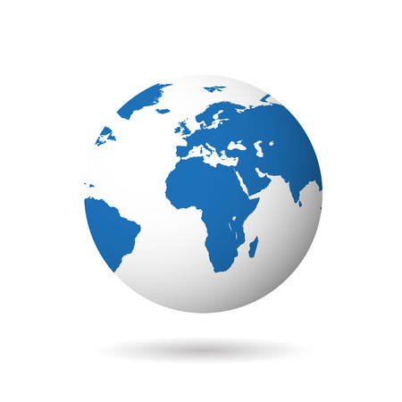 Map of the world globe with shadow on white  background