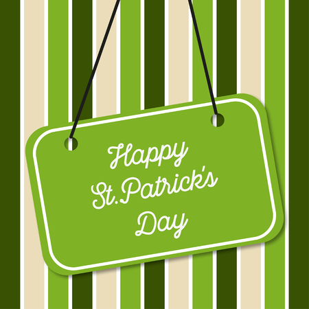 leafed: St.Patricks Day on green background  in lines