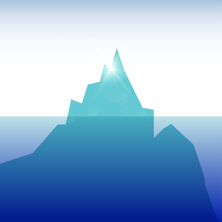 tip of iceberg: ceberg in the ocean clear sky  sunny day Illustration