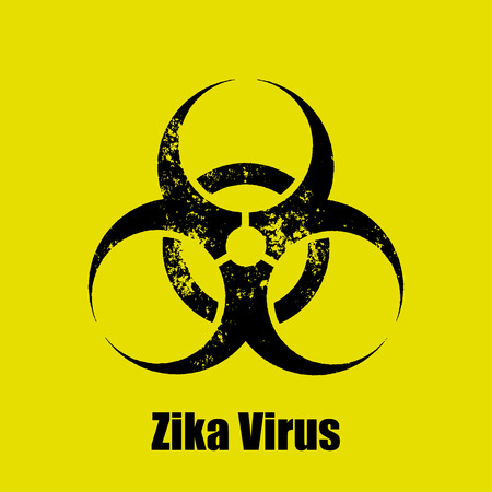 bacterial infection: Zika virus warning sign on a  yellow background Illustration