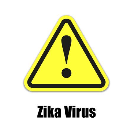 riesgo biologico: Zika señal de advertencia de virus sobre un fondo amarillo