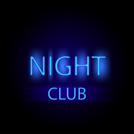Night club glowing neon letters stylish illustration