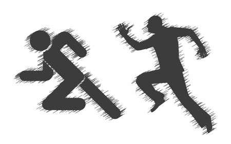 athletic: Running Man icons with shading on  a white background Illustration