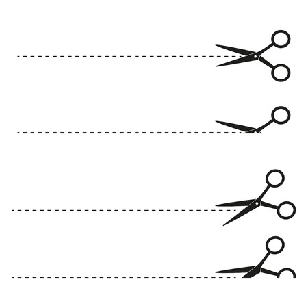 dashed: Scissors with cut lines set different on  white background Illustration