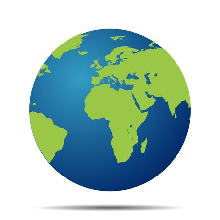 Kaart van de wereld bol met schaduw op een witte achtergrond Stock Illustratie