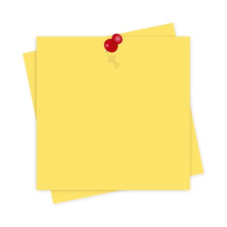 Geel papier, herinnering met schaduw op een witte achtergrond