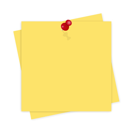 Yellow paper, reminder with shadow on  white background Illustration