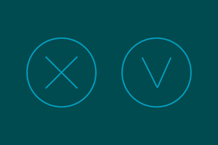 check mark icon: Cross and a check mark icon with stylish  design lines Illustration
