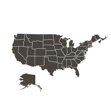carte Contour des Etats-Unis sur un fond blanc couleur noire Vecteurs