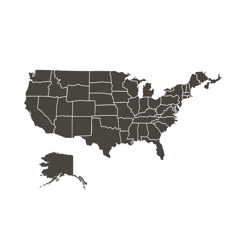 map of the united states: Contour map of the USA on a white background  black color
