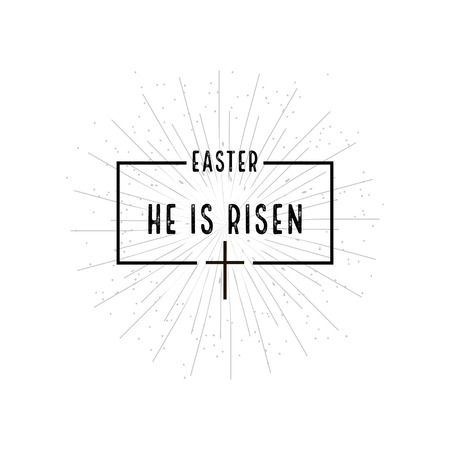 Easter He is risen symbol with burst on  white background Stock Illustratie