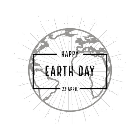 earth cartoon: Earth day holiday poster with shadow  on white background Illustration