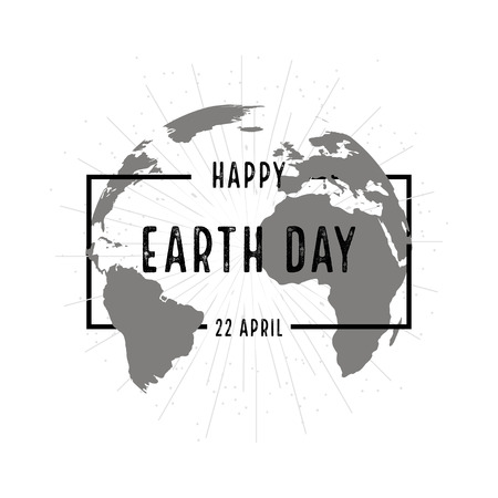 globe hand: Earth day holiday poster with shadow on  white background