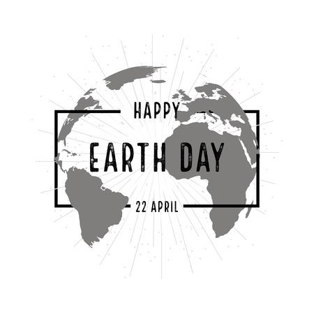 planeta tierra feliz: Tierra del cartel los días de fiesta con sombra sobre fondo blanco Vectores