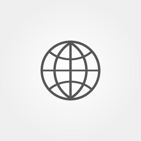 website wide window world write www: Globe icon in flat style  grey color