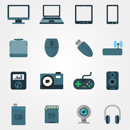 tehnology: Tehnology in flat style set of devices on a grey background