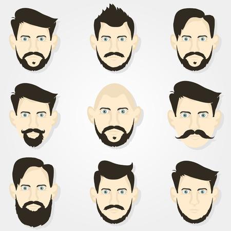viso di uomo: Acconciature barba pantaloni a vita bassa e uno sfondo grigio Vettoriali
