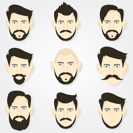 male: Hairstyles hipster beard and a  gray background Illustration