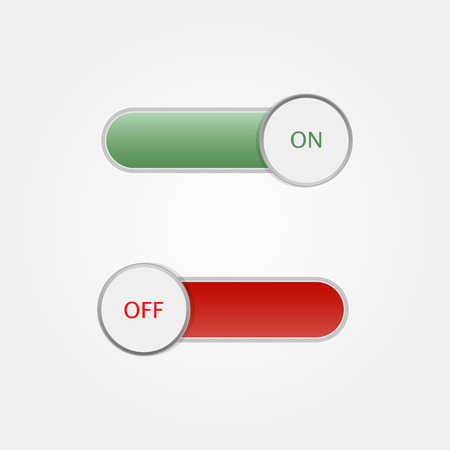 toggle switch: Toggle Switch On and Off on  grey background