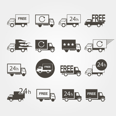 delivery van: Transport service set of icons on  a gray background