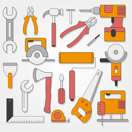 handy: Set of hand tools in flat style on a gray  background