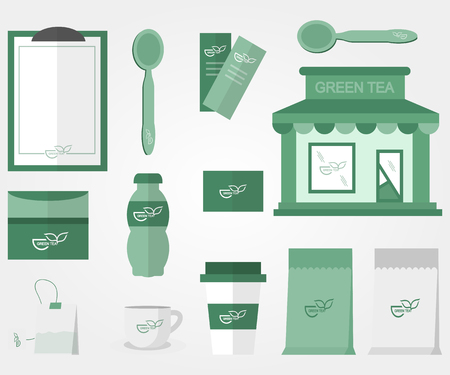 chinese tea pot: Green tea accessories in flat  style cafe Illustration