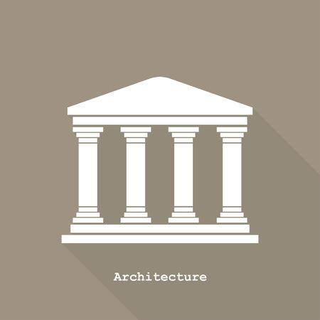 ギリシャの寺院のアイコン ベクトル イラスト フラット デザイン