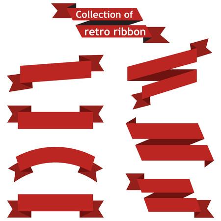 pancarta: Establecer las cintas rojas sobre un fondo blanco Vectores
