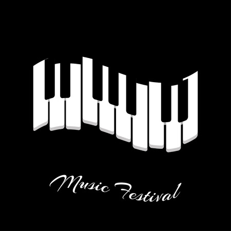 klawiatury: Muzyka festiwalu fortepian klawiatury na czarnym tle