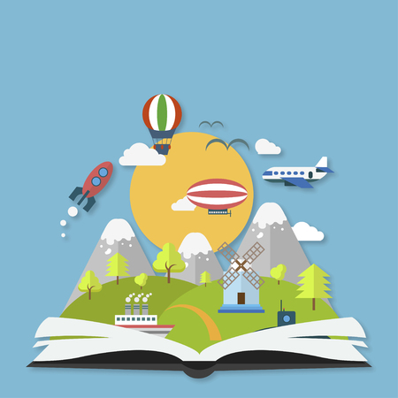book concept: Imagination concept open book with rocket  and clouds