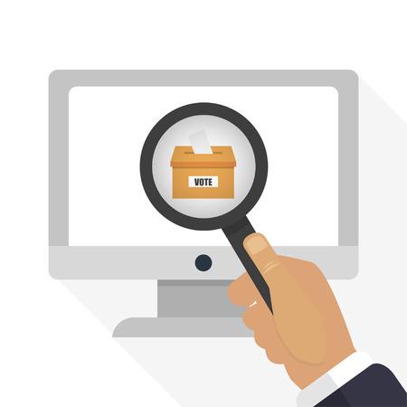 voter registration: Online voting in a flat style  of illustration Illustration
