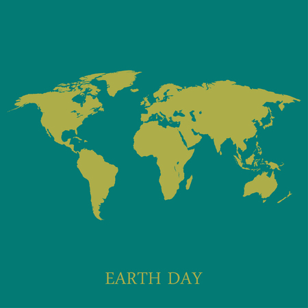 yellow earth: Earth map on turquoise background  stylish illustration