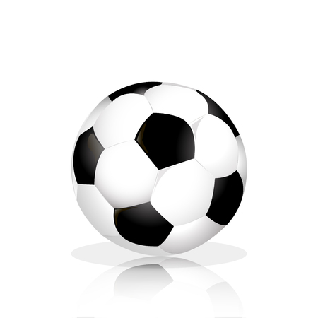 floor ball: Soccer ball with reflection on the floor  White Background