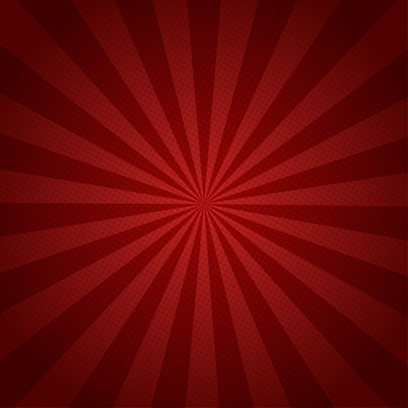 Red rays retro background with halftones  stylish