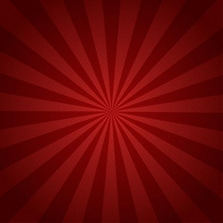 Czerwone promienie retro tła z półtonów stylowych