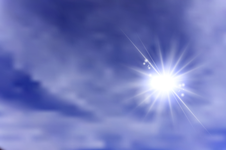 heavenly light: Sun shining behind clouds  on a sky Illustration