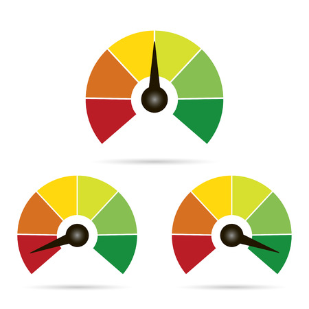 Set of measuring icons easy normal hard on white  background