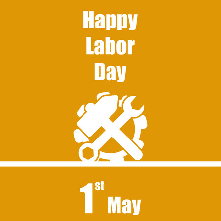 1: International labour day 1 May orange  background